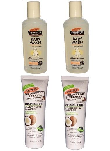 Palmers Palmer's Cocoa Butter Formula Coconut Oil Conditioning Şampuan 2 x 50 ml + Baby Wash 2 x 50 ml Anne Bebek Tanışma Seti Renksiz
